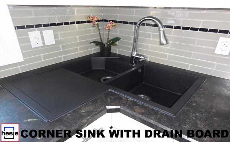 Corner sink with drain board